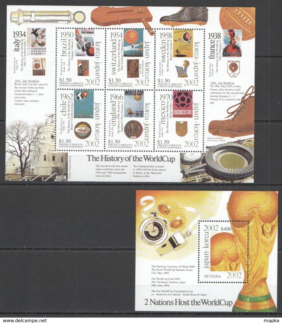 X968 GRENADA CARRIACOU GUYANA SPORT FOOTBALL HISTORY OF WORLD CUP BL+KB MNH - 2002 – Zuid-Korea / Japan