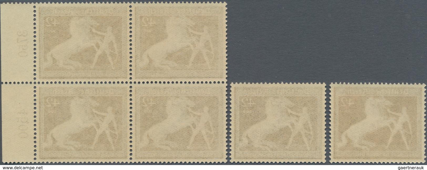 Deutsches Reich - 3. Reich: 1939, Braunes Band Als Viererblock Vom Rechten Rand Und 2 Einzelmarken. - Allemagne