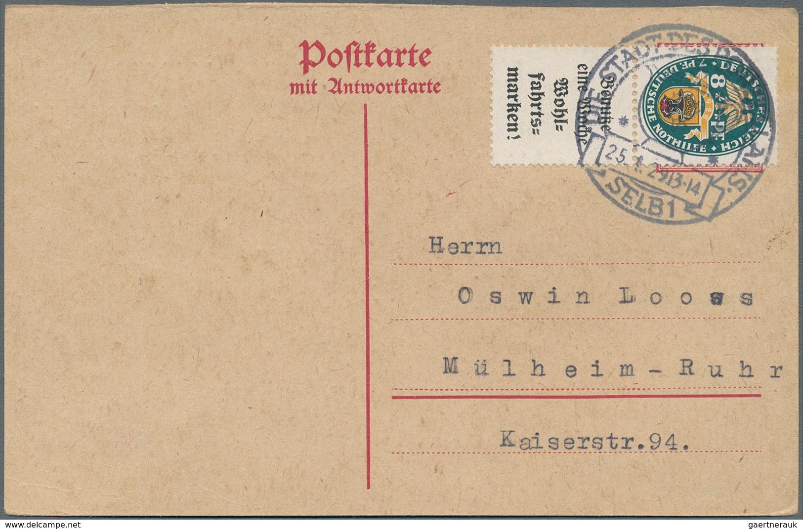 Deutsches Reich - Zusammendrucke: 1928, Senkr. Zdr. 8 Pf + A2 Aus H-Blatt 65 B, Portogerechte EF Auf - Zusammendrucke