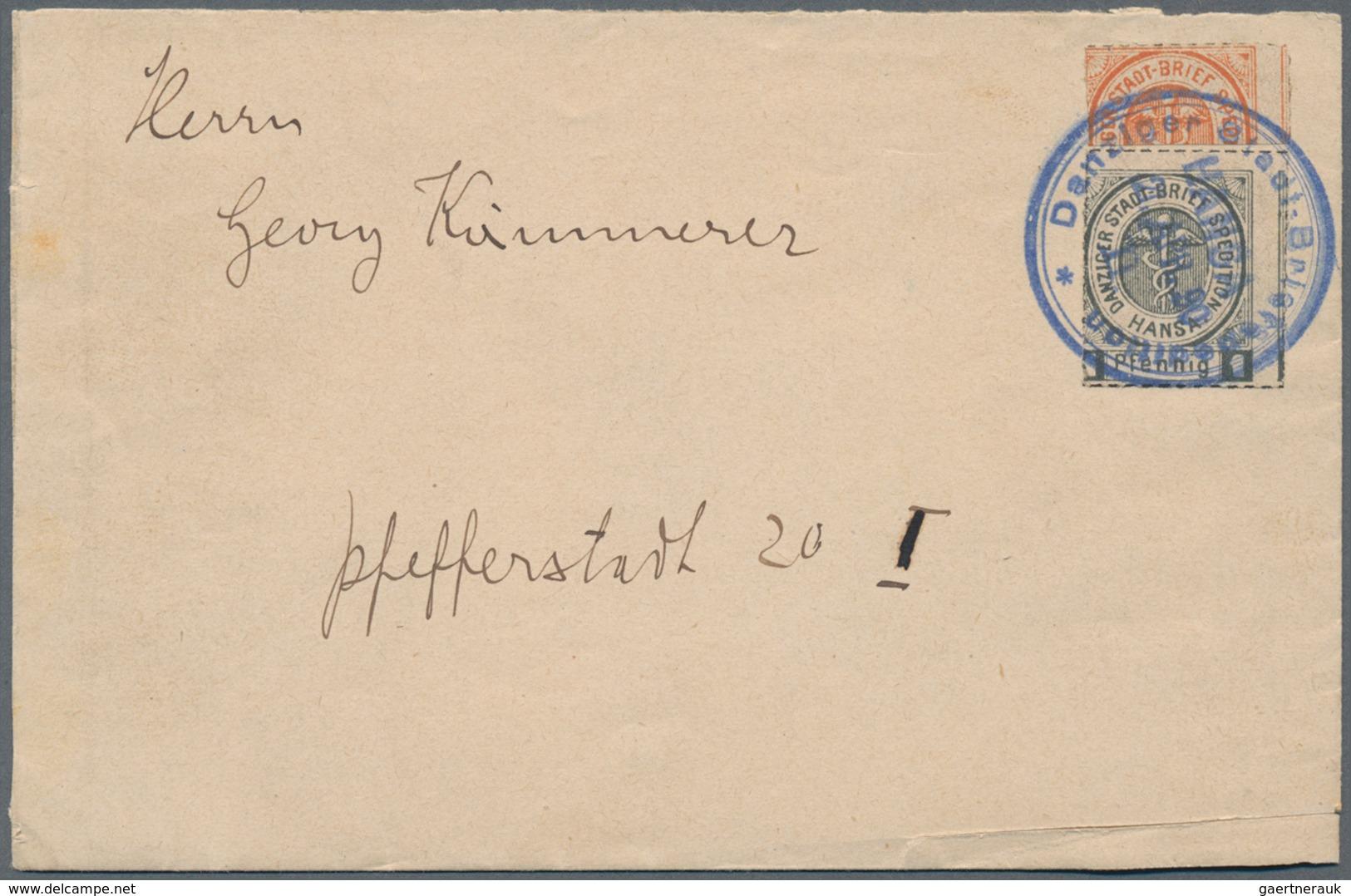 """Deutsches Reich - Privatpost (Stadtpost): DANZIG: 1890, 1 Pfg. Grau Und 2 Pfg. Orange Der """"Danziger - Poste Privée"""