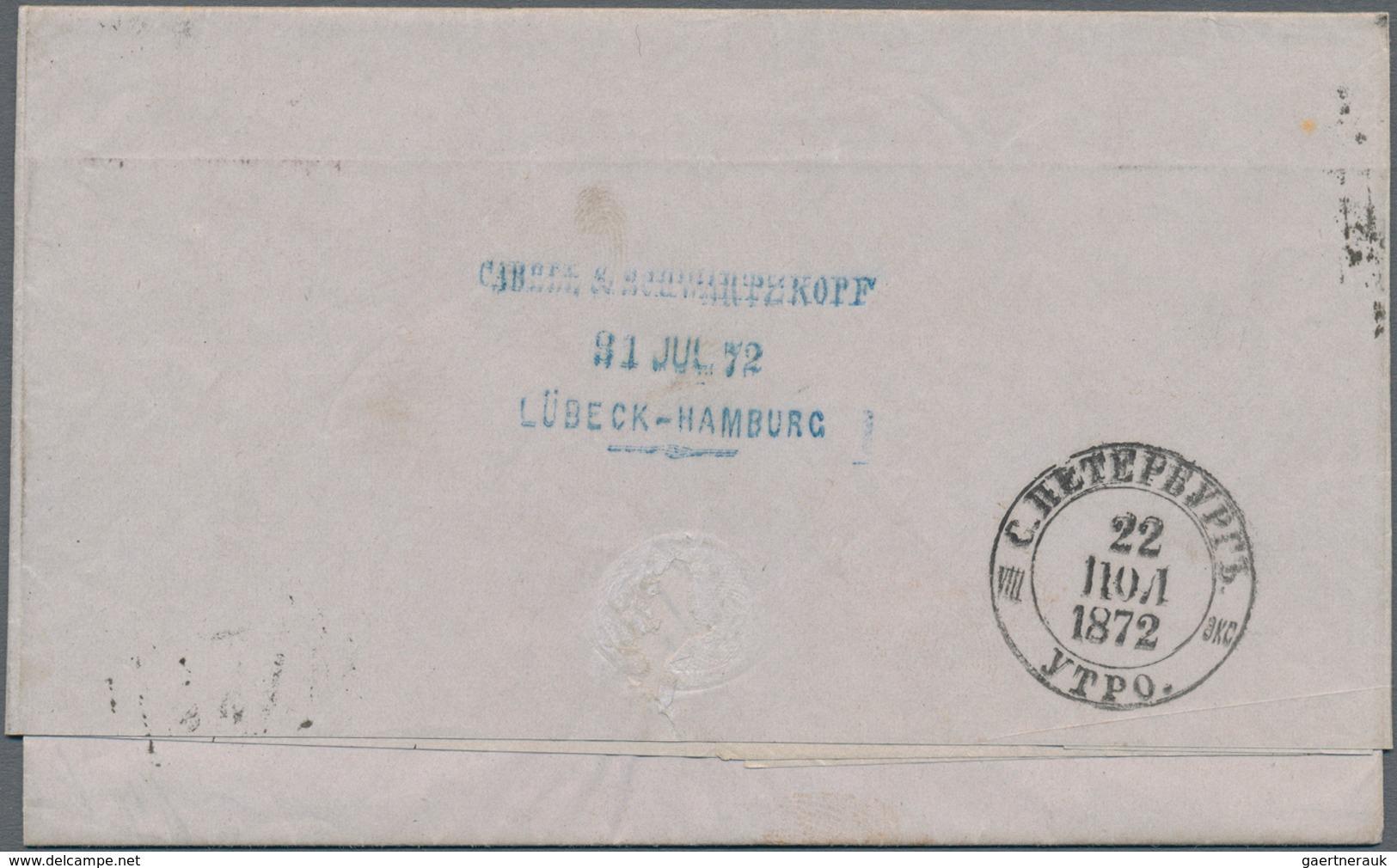 Deutsches Reich - Hufeisenstempel: LÜBECK 31/7 72 Auf Faltbrief Nach Christinestad, Finnland Mit Kl. - Poststempel - Freistempel