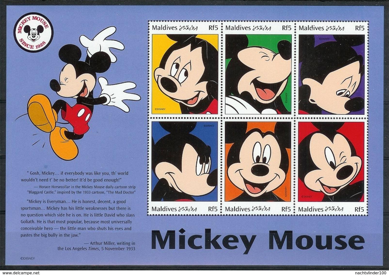 Nfe477-482b WALT DISNEY --- MICKEY MINNIE GOOFY PLUTO DONALD DAISY --- MALDIVES 1999 PF/MNH - Disney