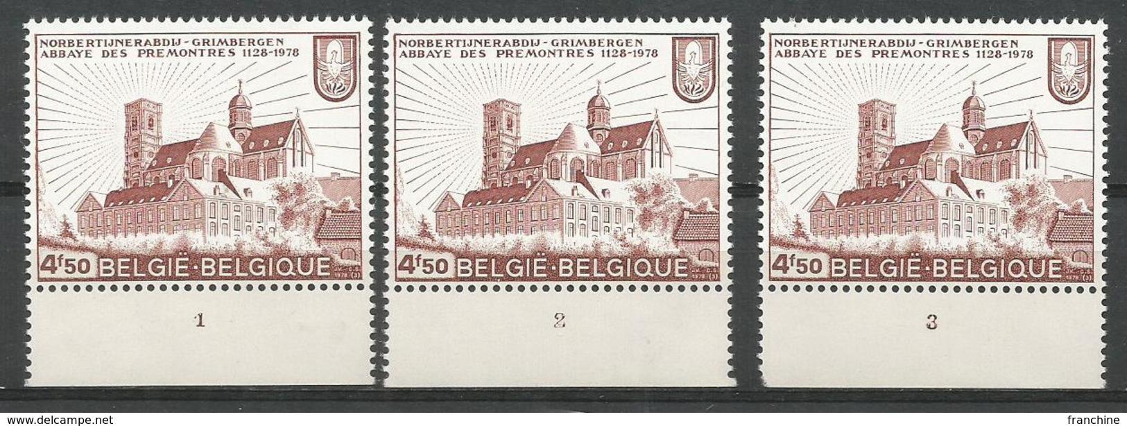 1978 - COB N° 1888 - Planche 1-2-3 ** (MNH) - Plaatnummers