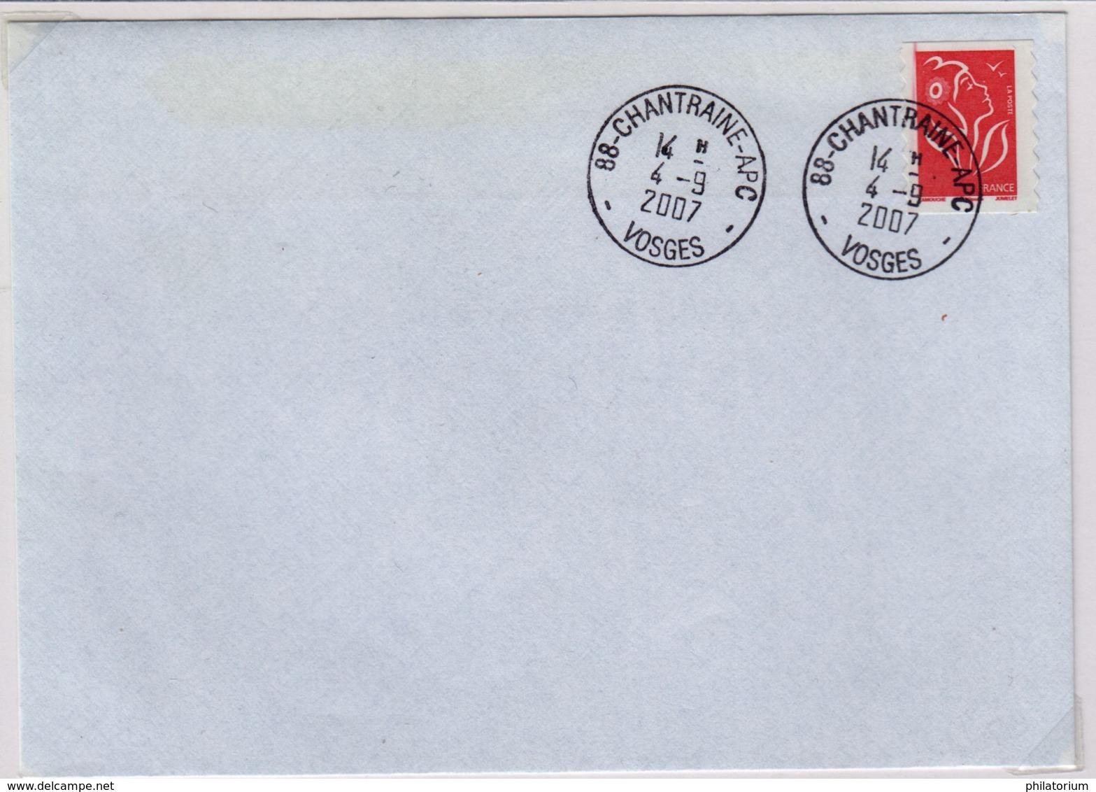 CHANTRAINE - APC (Vosges) 4 Septembre 2007 Agence Postale Communale - Marcophilie (Lettres)