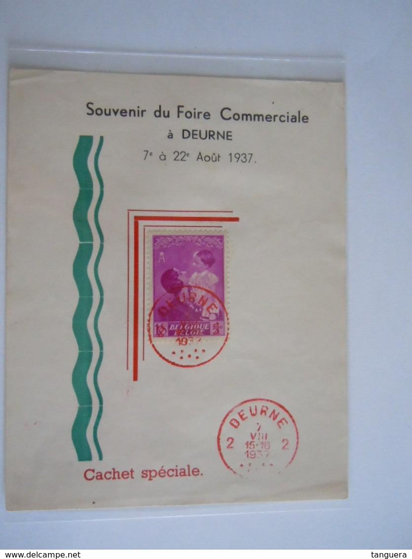 België Belgium Deurne 7-8-1937 Feuillet Blaadje Souvenir Du Foire Commerciale Astrid Boudewijn Baudouin Cob 447 - Belgien