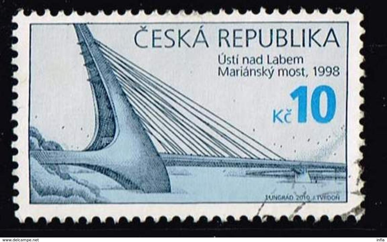 Tschechien 2010, Michel# 655 O Technical Monuments: Cable-stayed Bridge In Ústí Nad Labem - Tschechische Republik