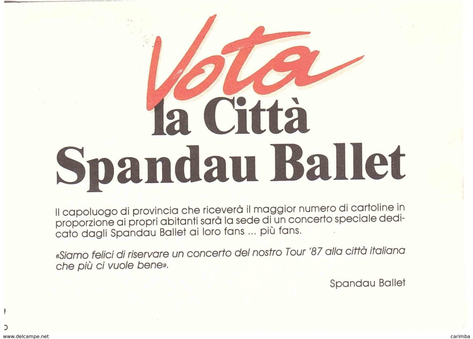 1987 £500 SALVARE LA NATURA FIUME VOLTURNO SU CARTOLINA SPANDAU BALLET - Werbepostkarten
