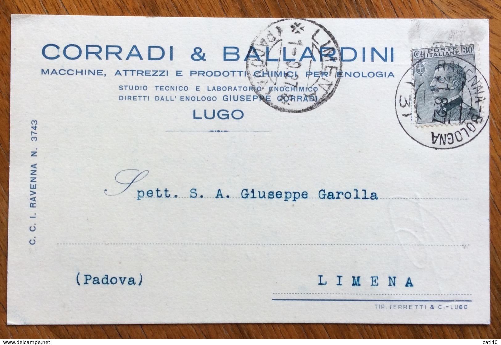 LUGO PRODOTTI CHIMICI PER ENOLOGIACORRADI & BALLARDINI CARTOOLINA PUBBLICITARIA CON AMB. RAVENNA-BOLOGNA (3) DEL 1/8/27 - Werbepostkarten