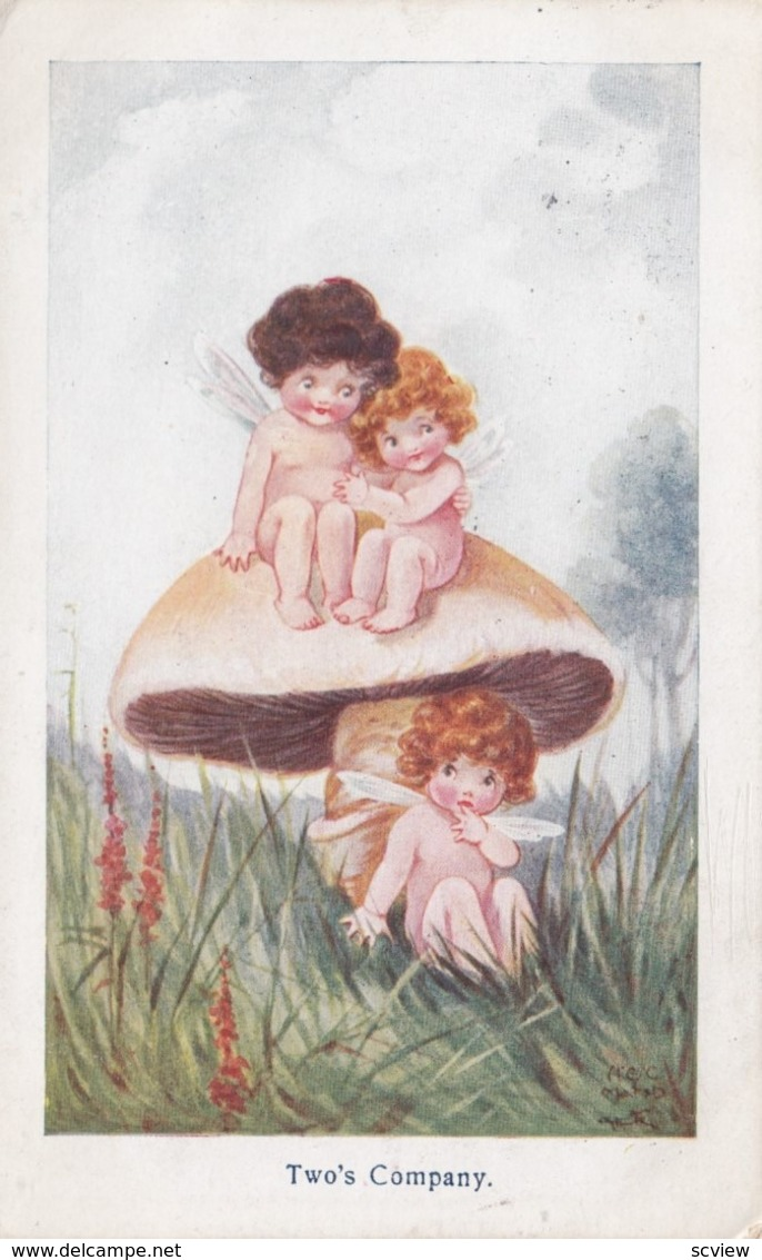 FANTASY ; Fairy Couple On Mushroom , Two's Company , 1915 - Illustrators & Photographers