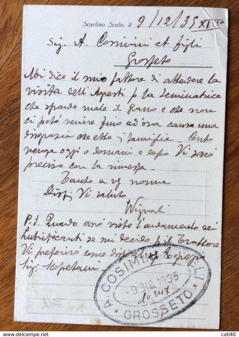 SCARLINO SCALO TENUTA VETRICELLA  AMM.VIGNALI  CARTOLINA  AUTOGRAFA Con AMBULANTE LIVORNO-ROMA -(9)-9/2/35 - Werbepostkarten
