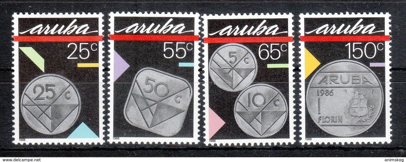 Aruba 1988**, Münzen, Sukkulente Aloe Sp. / Aruba 1988, MNH, Coins, Succulent Alos Sp. - Sukkulenten