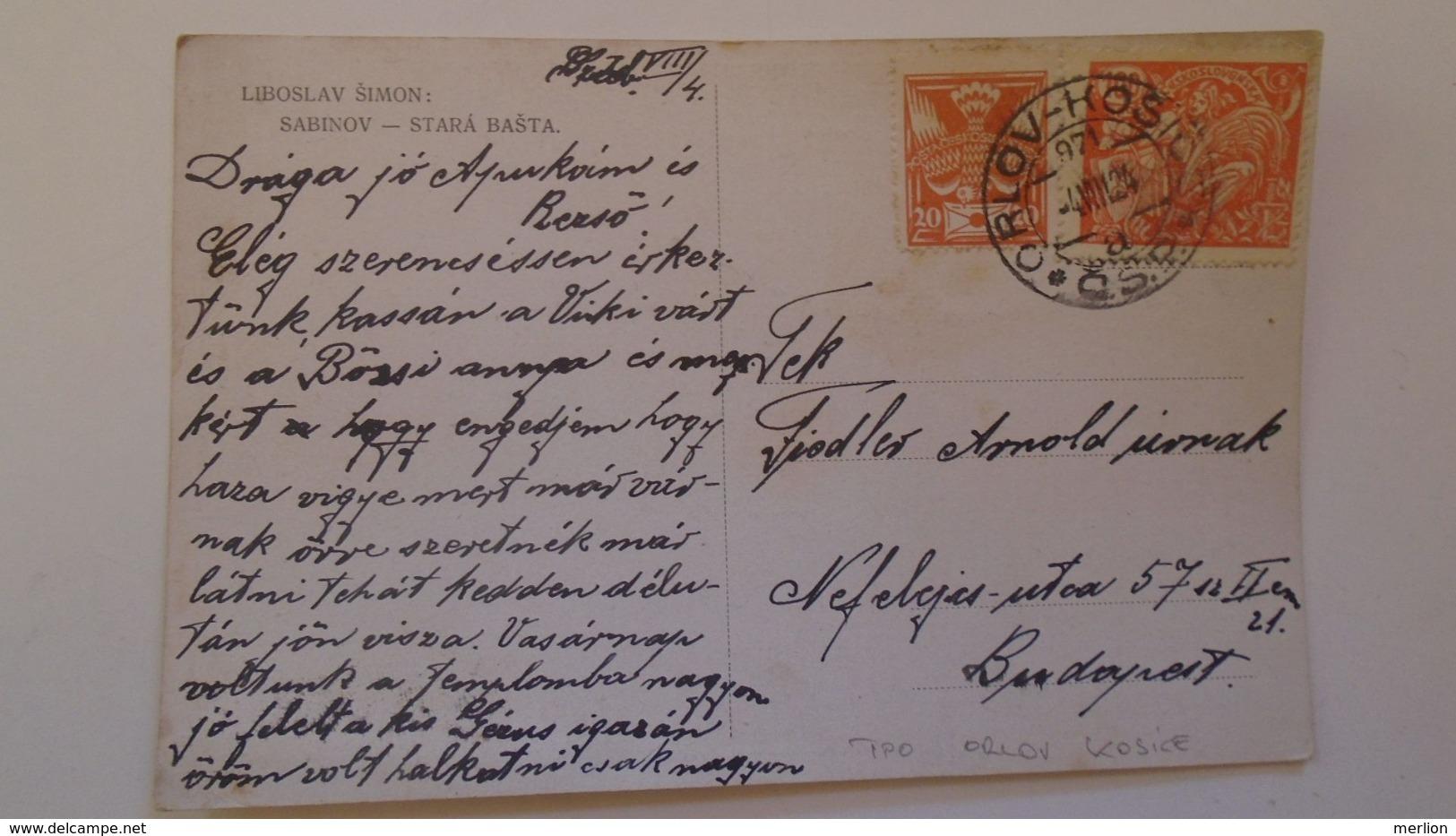 D168180  Czechoslovakia  Postcard SABINOV-   TPO -Railway Post -BAHNPOST - Orlov-Kosice   1924 - Briefe U. Dokumente
