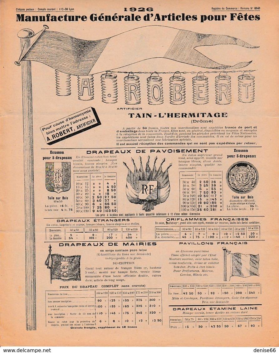1926 - TAIN-L'HERMITAGE - ARTICLES POUR FÊTES - A. ROBERT ARTIFICIER - ILLUMINATIONS - Documents Historiques