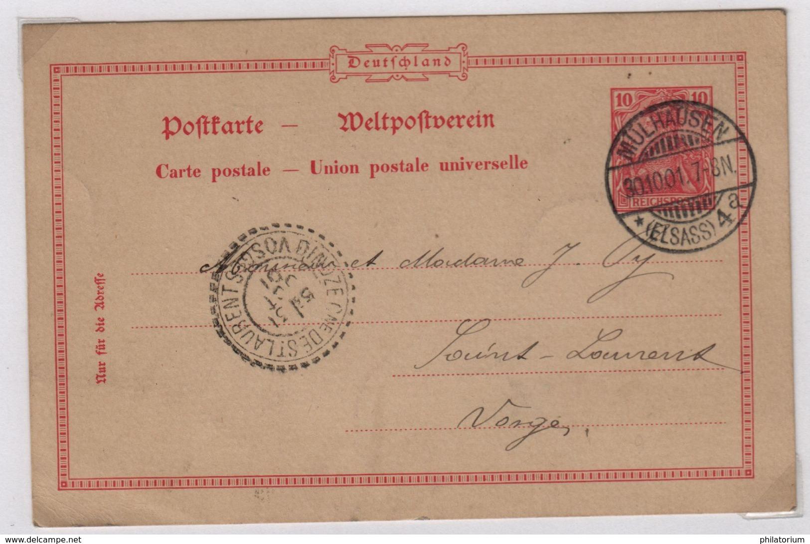 DINOZE Cne De St LAURENT (Vosges) Cachet Facteur Boîtier 1884, 31 Octobre 1901 - Marcophilie (Lettres)