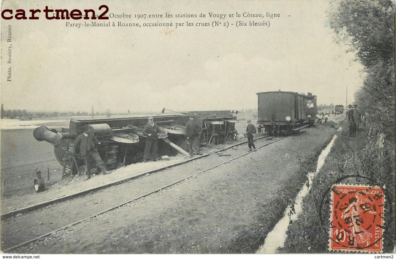 ROANNE PARAY-LE-MONIAL DERAILLEMENT ENTR LES STATIONS DE VOUGY ET LE COTEAU TRAIN CHEMIN DE FER 42 - Roanne