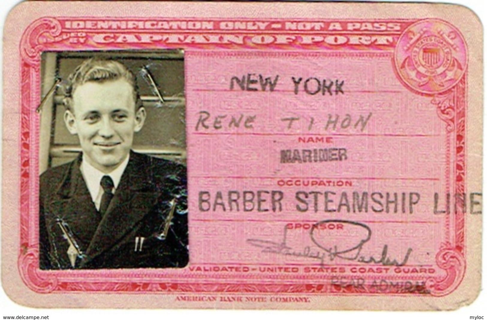 Bateau. Identification Card With Foto. Barber Steamship Line. New York. 1943. - Bateaux