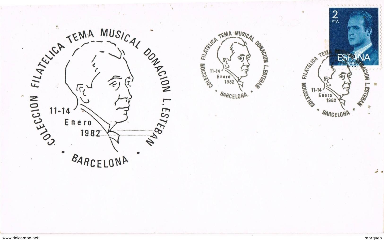 33966. Carta BARCELONA 1982. Exposicion Tema Musica. L. ESTEBAN - 1931-Hoy: 2ª República - ... Juan Carlos I