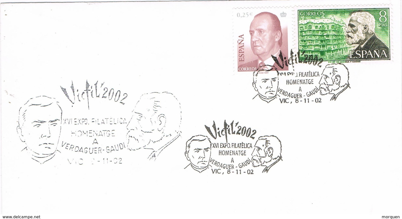 33969. Carta Exposicion VIC (Barcelona) 2002. VIC FIL 2002. Gaudí Y Jacint Verdaguer - 1931-Hoy: 2ª República - ... Juan Carlos I