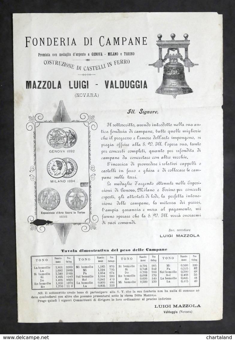 Pubblicità - Fonderia Di Campane - Mazzola Luigi - Valduggia - 1900 Ca. - Pubblicitari