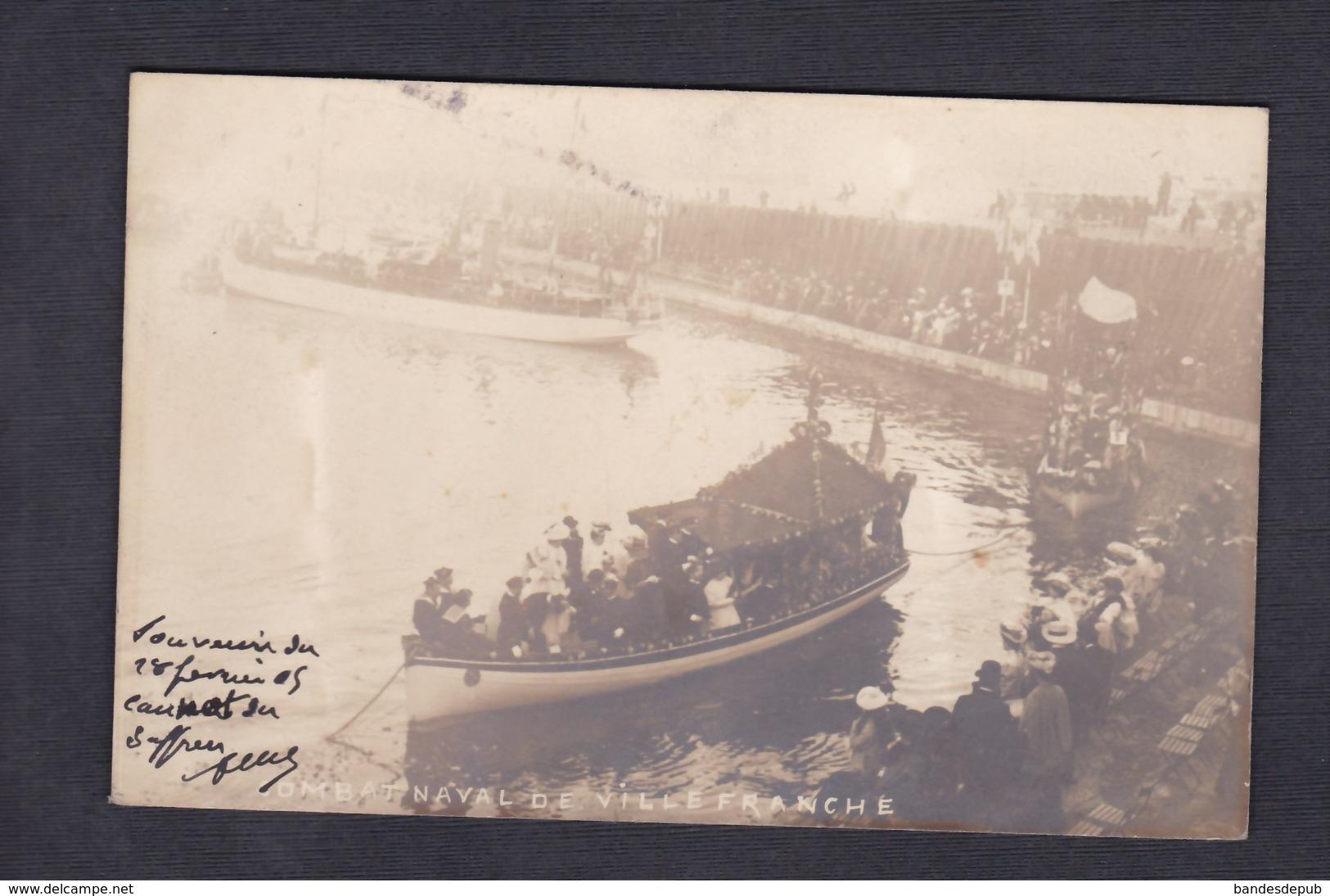 Carte Photo Villefranche Sur Mer Combat Naval Fleuri 1905 - Villefranche-sur-Mer