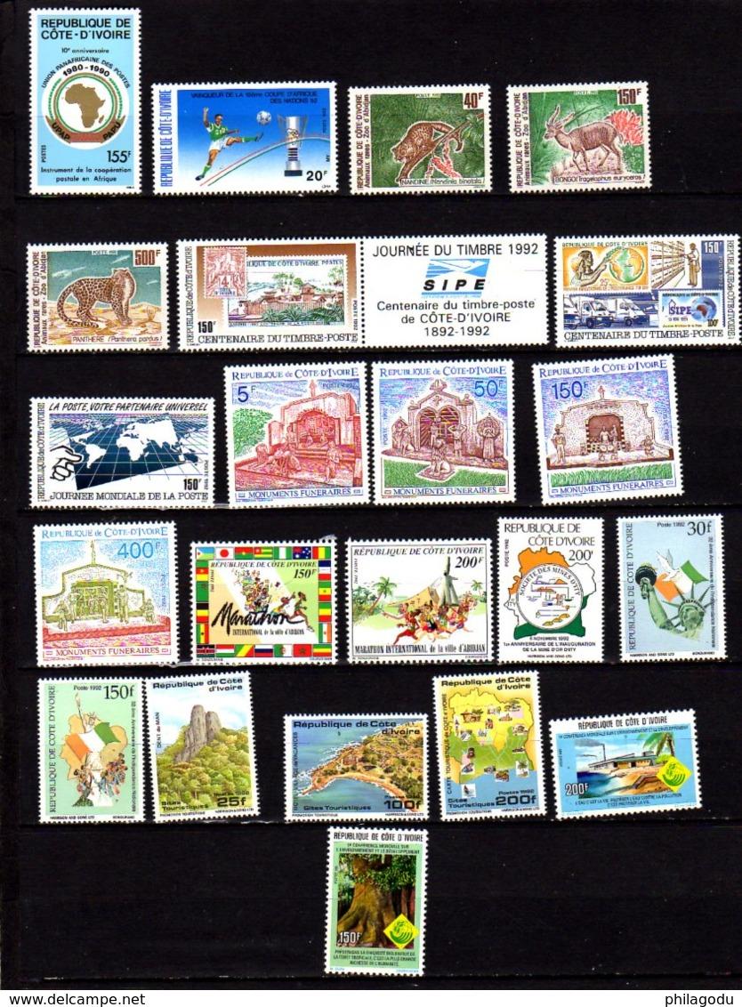 Côte D'Ivoire 1990-95, Insectes, Monuments, Vues, Cartes, Etc, Entre 838 Et 947** (pas 890 Et 900 F), Cote 125 €, - Côte D'Ivoire (1960-...)