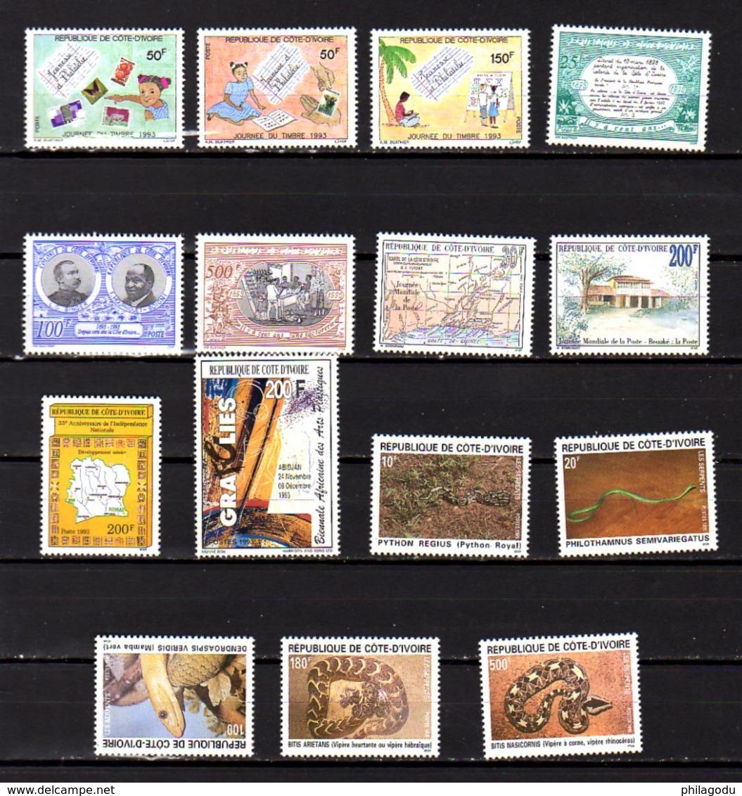 Côte D'Ivoire 1990-95, Insectes, Monuments, Vues, Cartes, Etc, Entre 838 Et 947** (pas 890 Et 900 F), Cote 125 €, - Ivoorkust (1960-...)