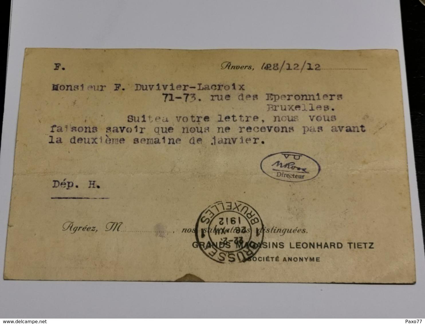 Grands Magasins Leonhard Tietz, Anvers 1912 - Antwerpen