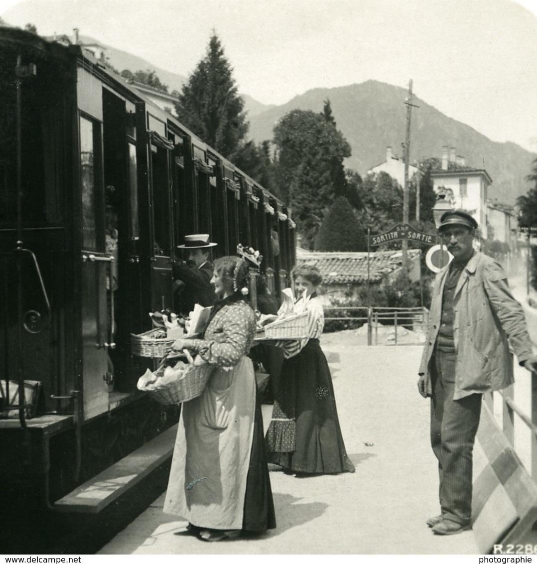 Italie Lac De Côme Menaggio Gare Train Ancienne Photo Stereo 1906 - Stereoscopic