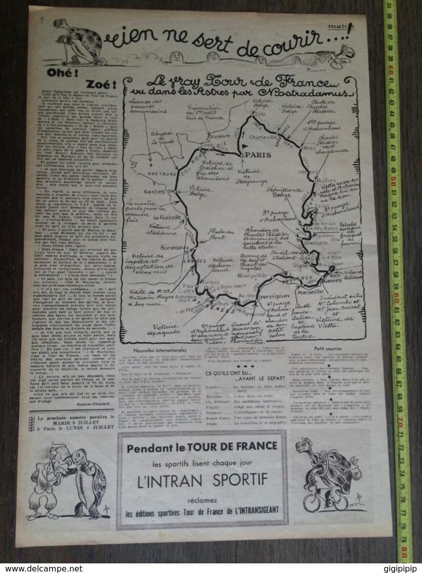 1935 M TOUR DE FRANCE ( LIEVRE ET LA ) TORTUE ZOE RIEN NE SERT DE COURIR HUMOUR PELLOS - Colecciones