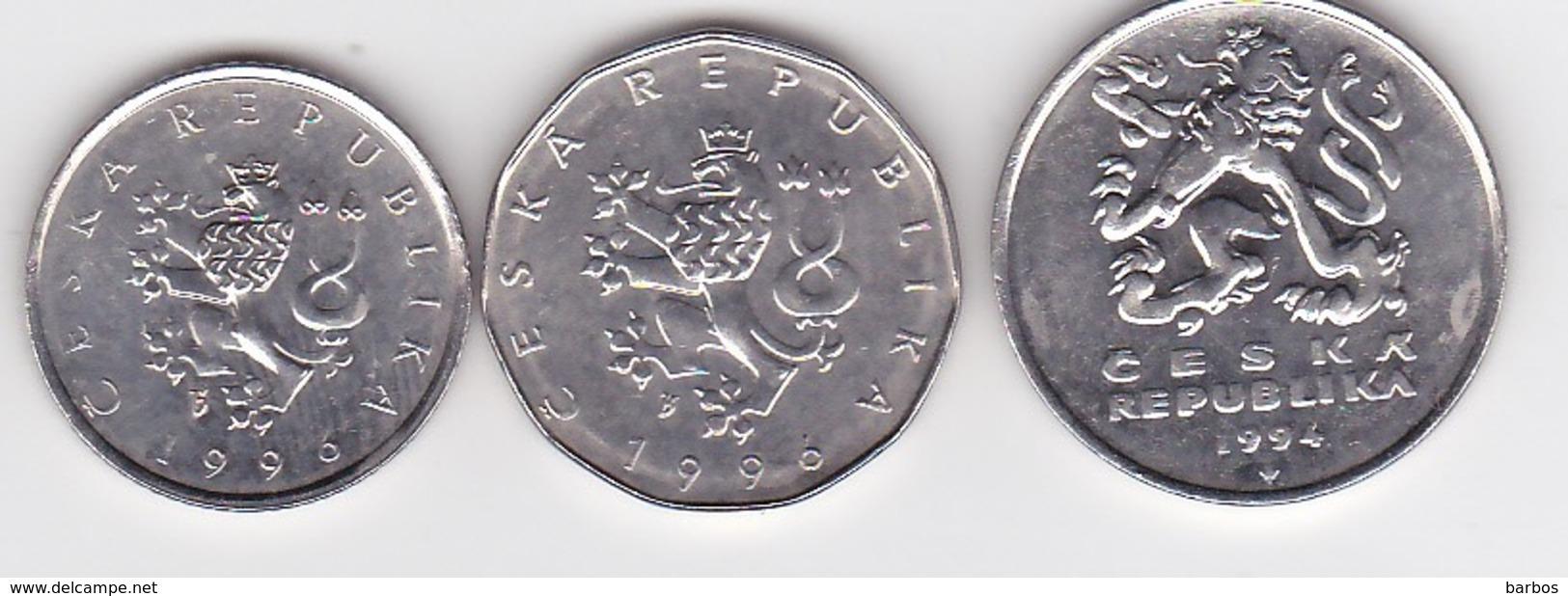 Tchequie ,  1,2 KC-1996, 5 Kc-1994 , Coin - Tschechische Rep.