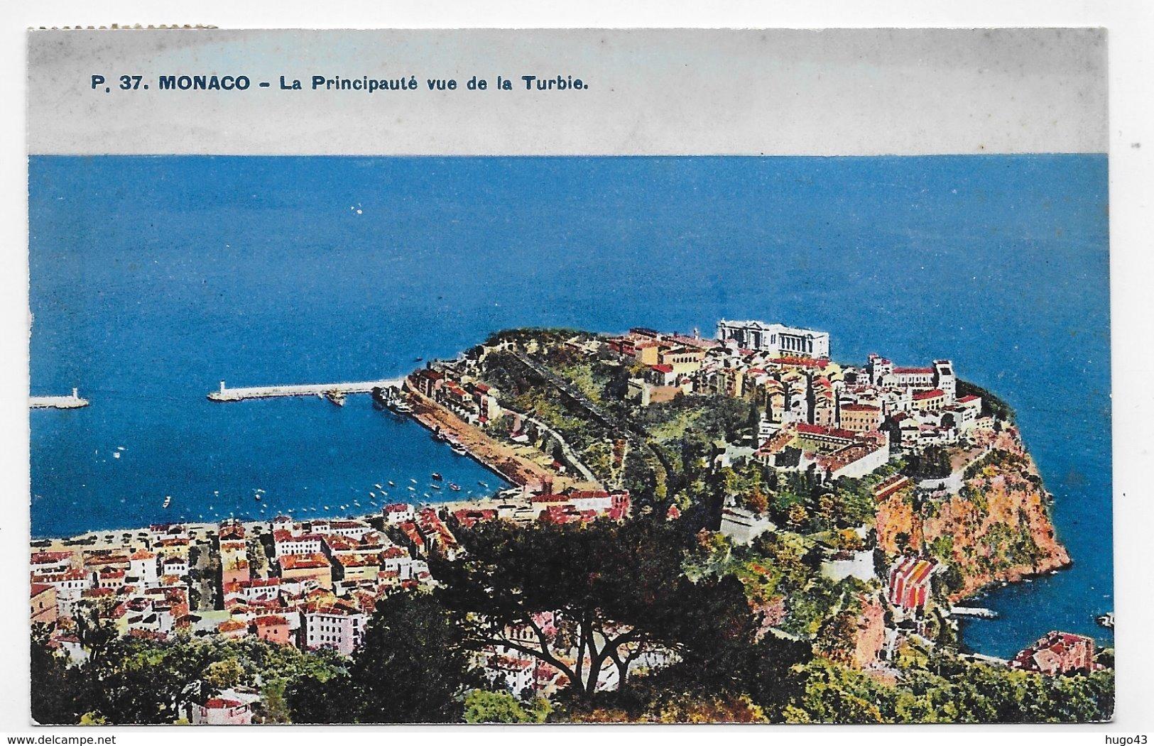 (RECTO / VERSO) MONACO - N° 37 - LA PRINCIPAUTE VUE DE LA TURBIE - TIMBRE DE MONACO - CPA VOYAGEE - Harbor