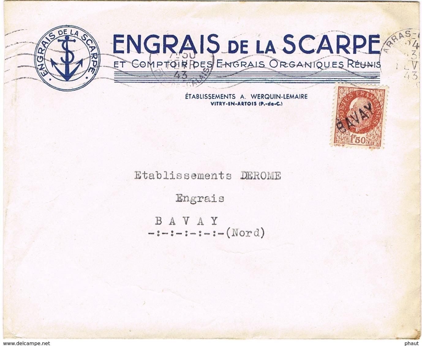 ENVELOPPE  A EN-TETE ENGRAIS DE LA SCARPE VITRY EN ARTOIS - Storia Postale