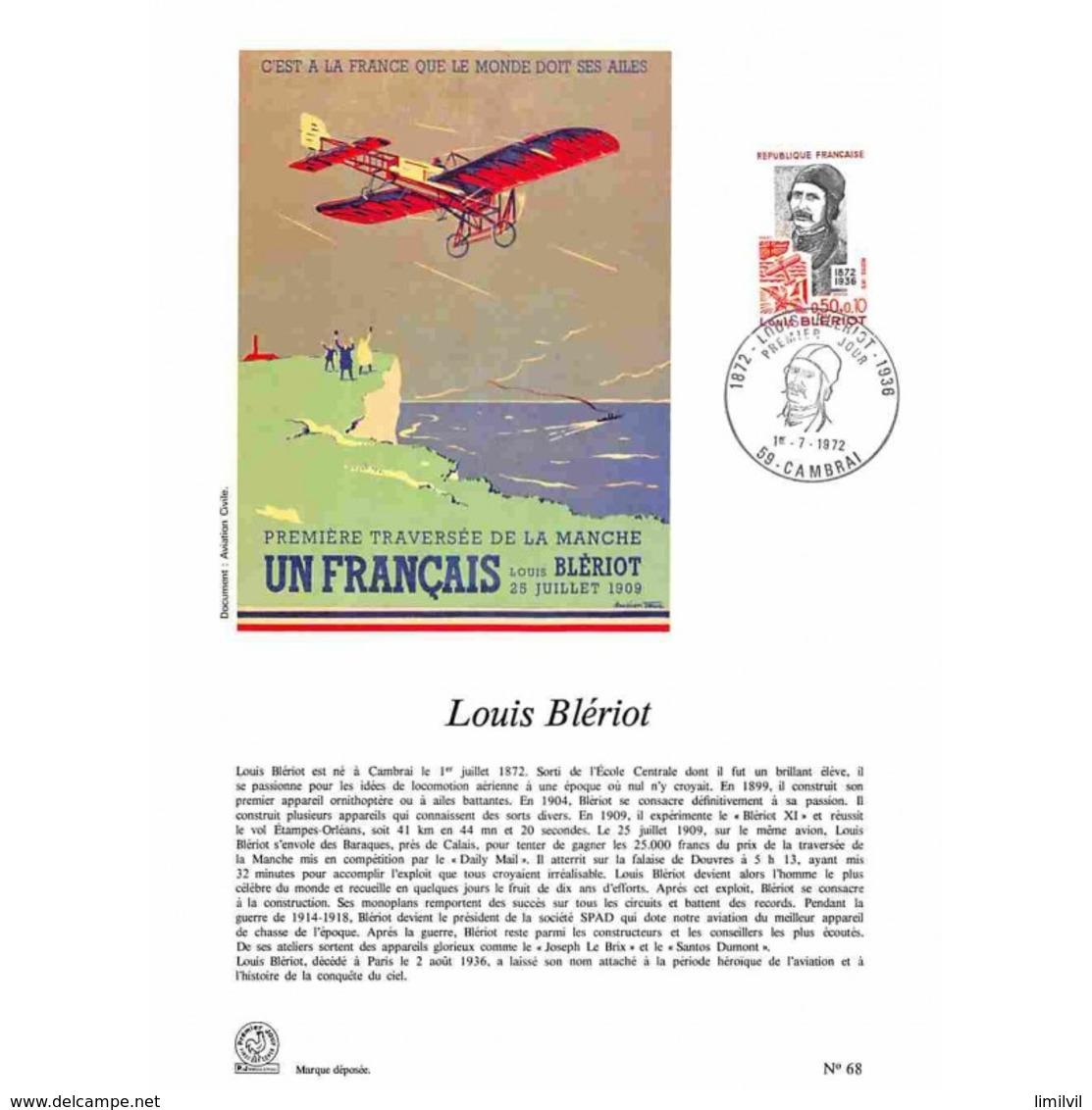 Encart Sur Papier Glacé - Louis Blériot - 1/07/1972 Cambrai - Postdokumente