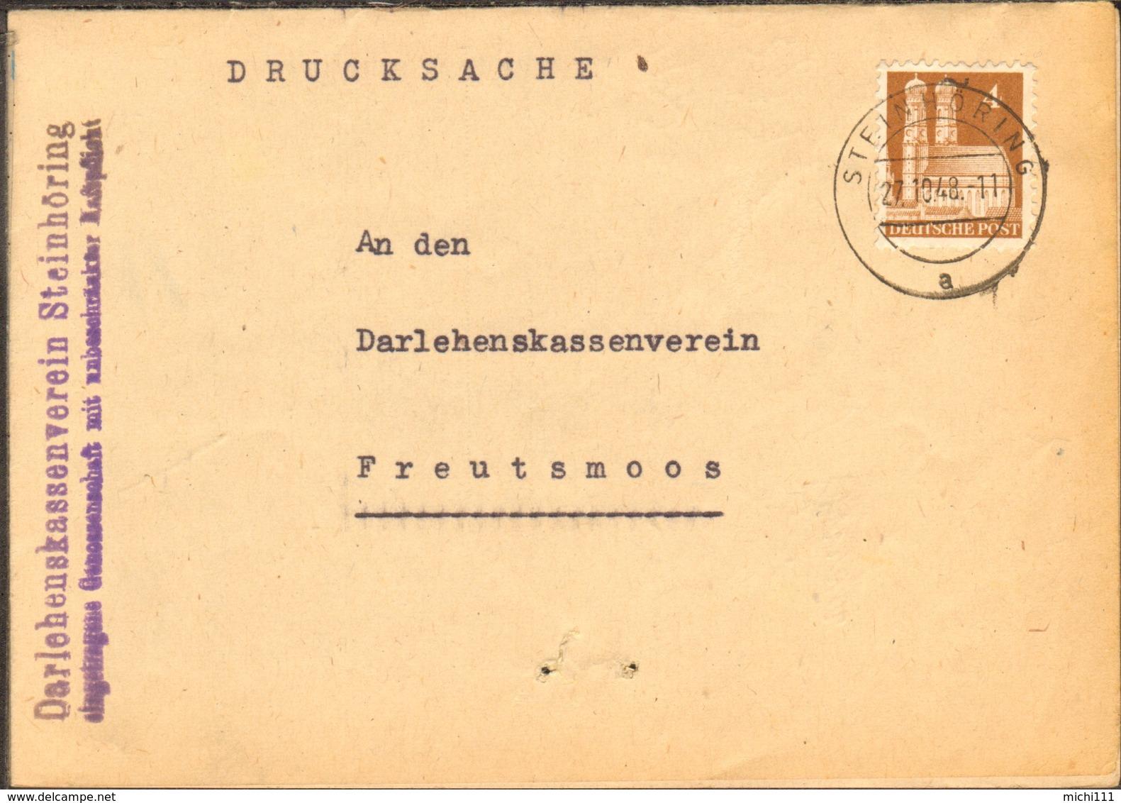 Bizone 4 Pfg.Bauten Auf Drucksache Von 1948 Aus Steinhöring - Bizone