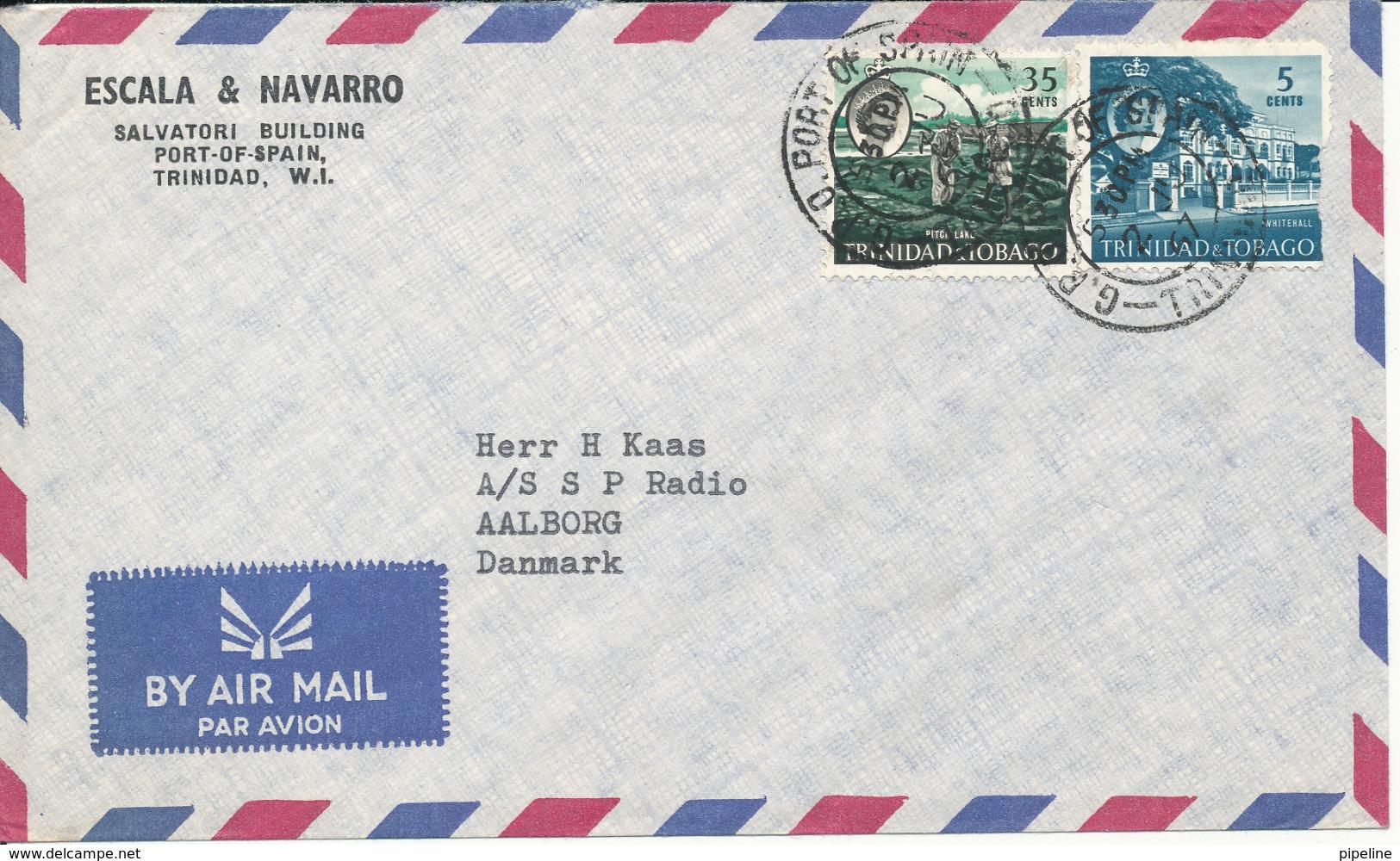 Trinidad & Tobago Air Mail Cover Sent To Denmark 2-6-1967 (1 Of The Stamps Damaged) - Trinidad & Tobago (1962-...)