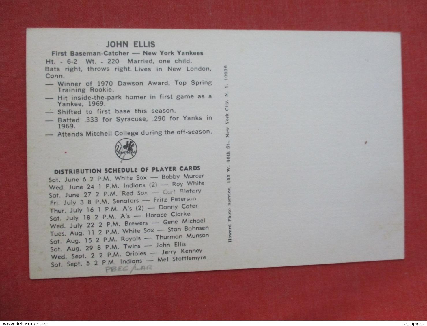 John Ellis   NY Yankees >>ref 3632 - Baseball