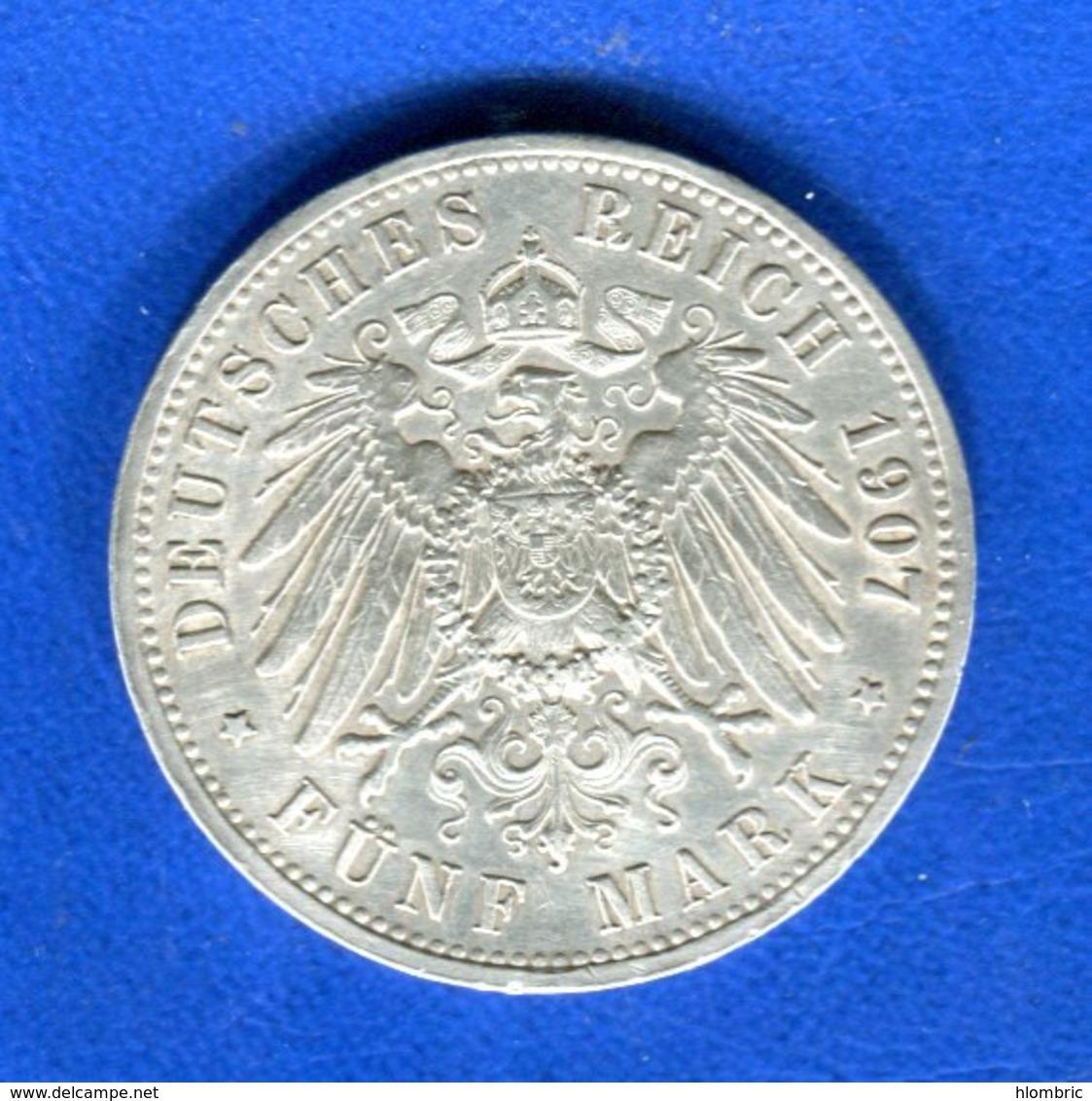 5  Mark  1907  Arg - [ 2] 1871-1918 : Empire Allemand