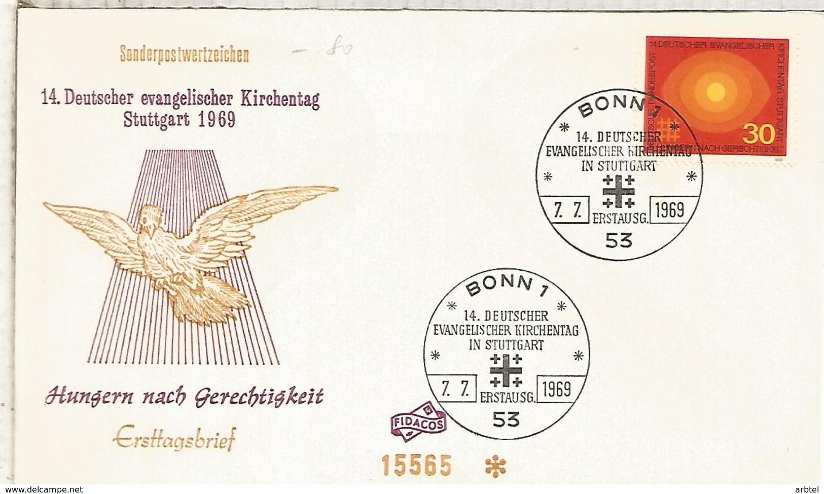 ALEMANIA FDC BONN 1969 RELIGION - Cristianismo