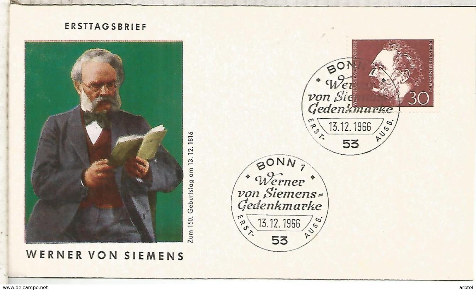 ALEMANIA FDC BONN 1966 SIEMENS ELECTRICIDAD CIENCIA ELECTRIC ENERGY - Electricidad