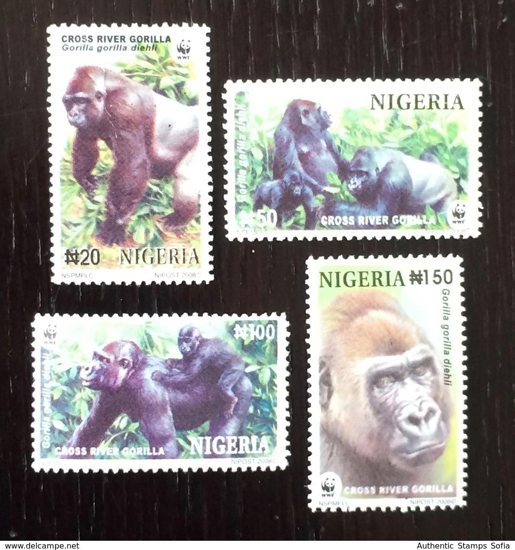 Nigeria 2008; WWF Fauna Wild Animals Mankey Gorila; MNH VF** Nice Set! - Unused Stamps