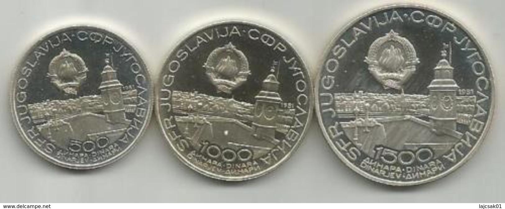 Yugoslavia 500,1000 And 1500 Dinara 1981. Silver Ag Coin Set 36th Table Tennis WC AUNC - Joegoslavië