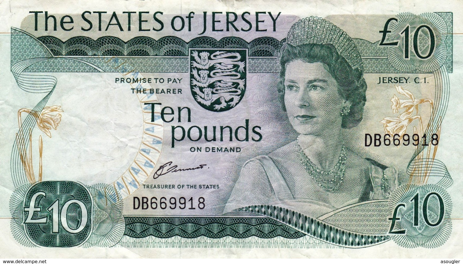 """JERSEY 10 POUNDS ND 1976 - 1988 VF P-13a """"free Shipping Via Registered Air Mail"""" - Jersey"""