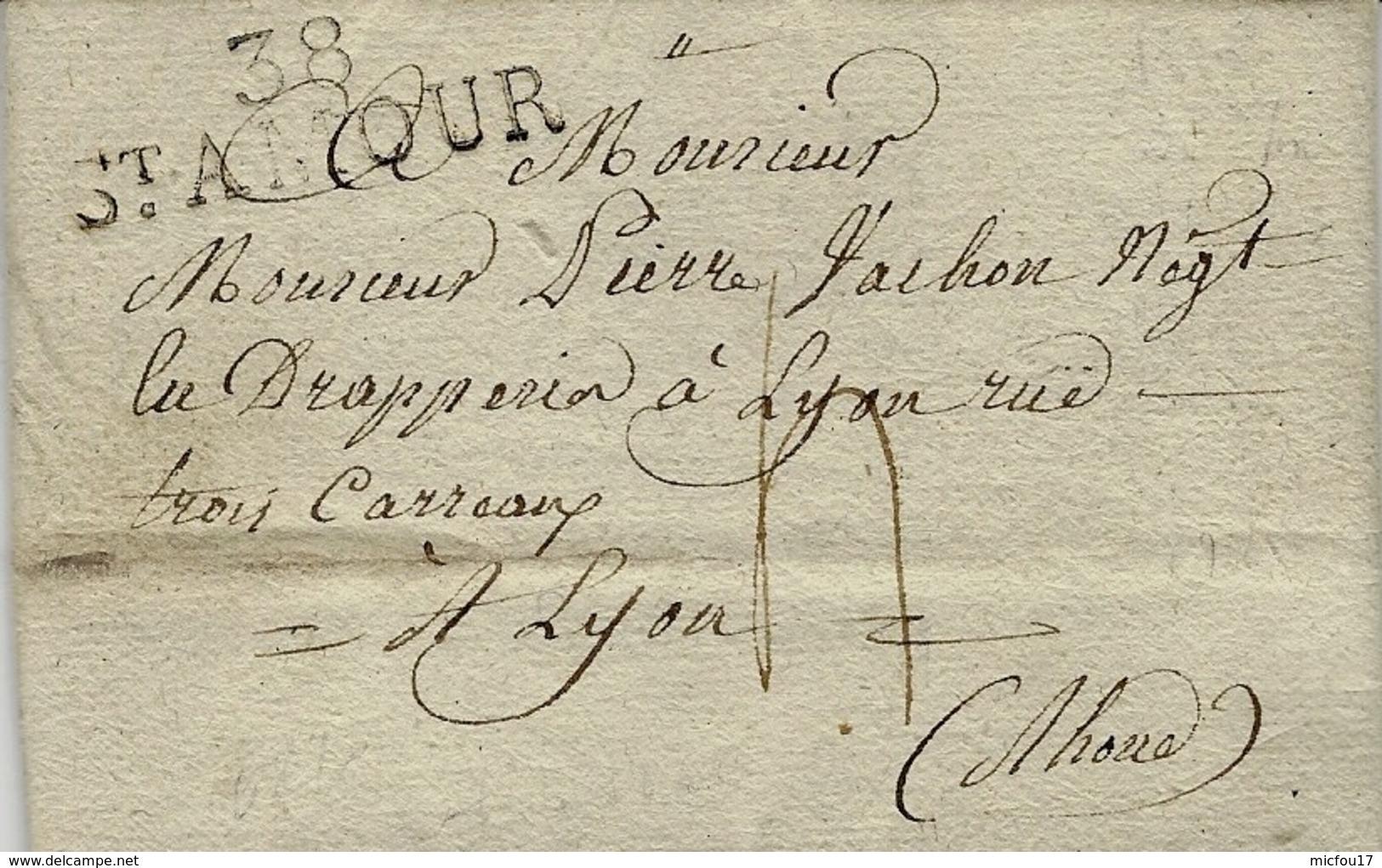 1820- Lettre De 38 / ST AMOUR ( Jura )  37 X 10 Mm  Noir Taxe 4 D Pour Lyon - Marcophilie (Lettres)