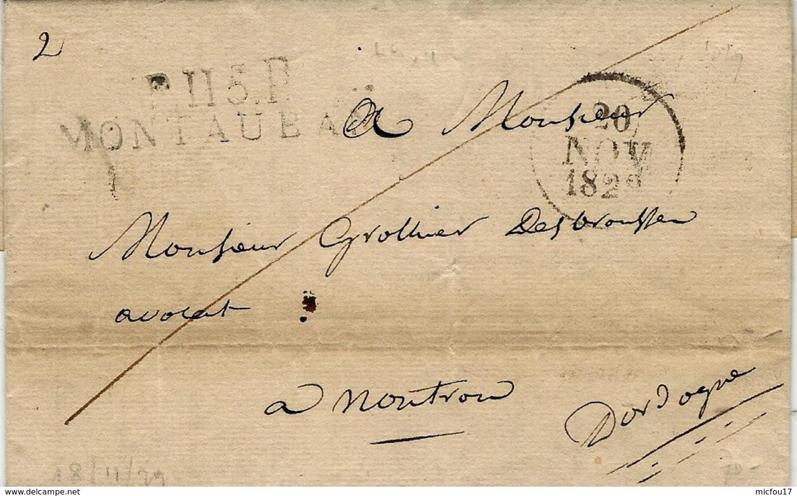 1829- Lettre De P.115.P / MONTAUBAN ( Tarn Et Garonne ) 49 X 11 Mm Noir - Marcophilie (Lettres)