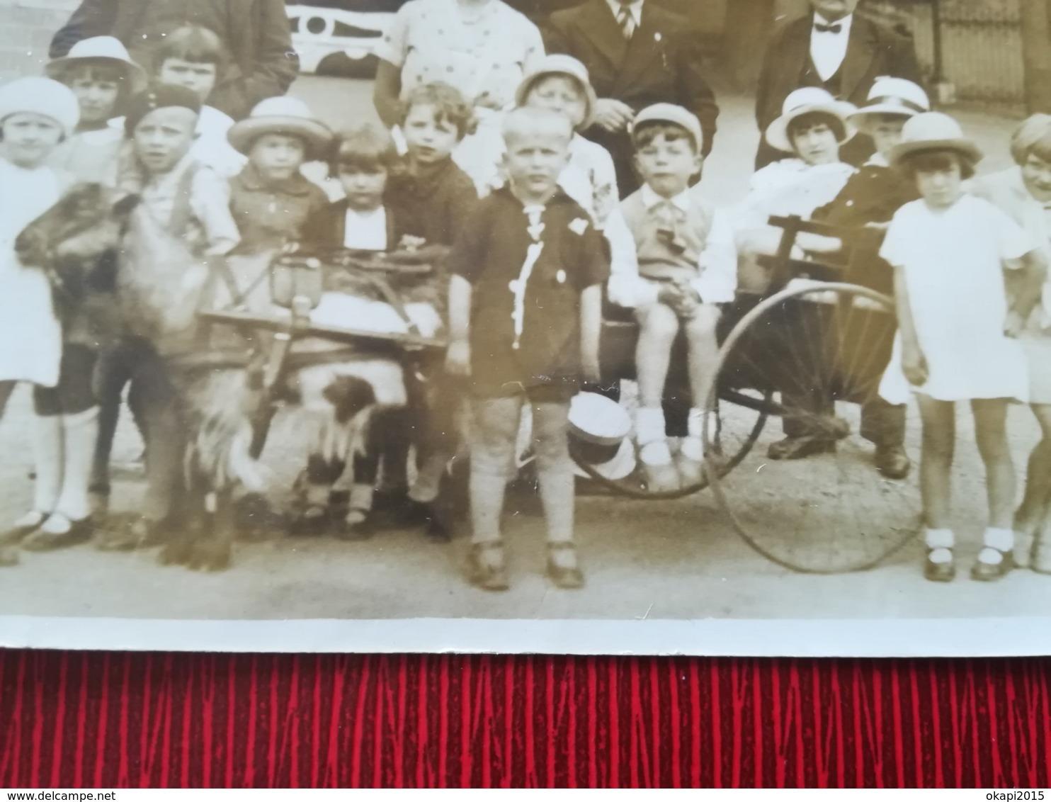 ATTELAGE  CHÈVRE ENFANTS AU PARC DE SPA UNE PHOTO ORIGINALE DE 1935 + UNE CARTE POSTALE PARC + 4 PHOTOS  BELGIQUE LIÈGE - Spa