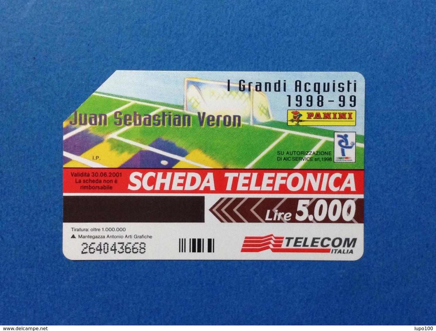 ITALIA SCHEDA TELEFONICA TELECOM USATA PHONE CARD USED I GRANDI ACQUISTI 1998 99 PANINI JUAN SEBASTIAN VERON - Italia