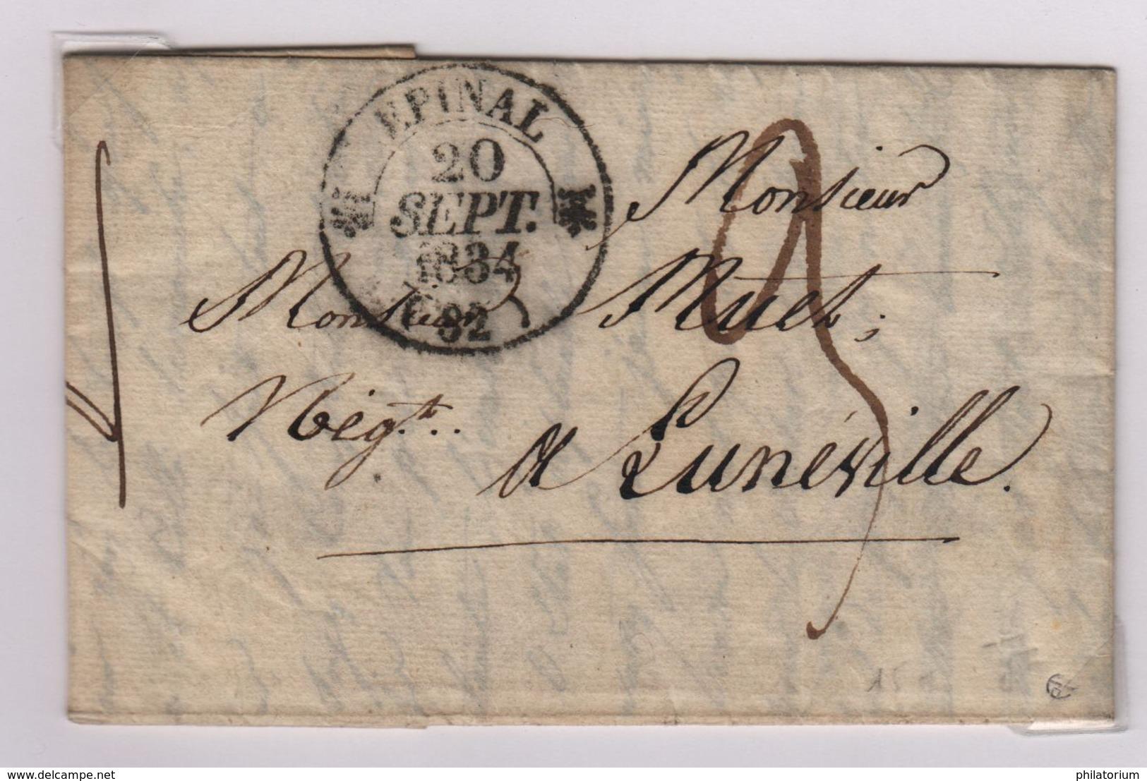 EPINAL (Vosges) Càd Type 12, 20 Septembre 1834, Pour Lunéville, Taxe Manuscrite 3 Décimes - Marcophilie (Lettres)