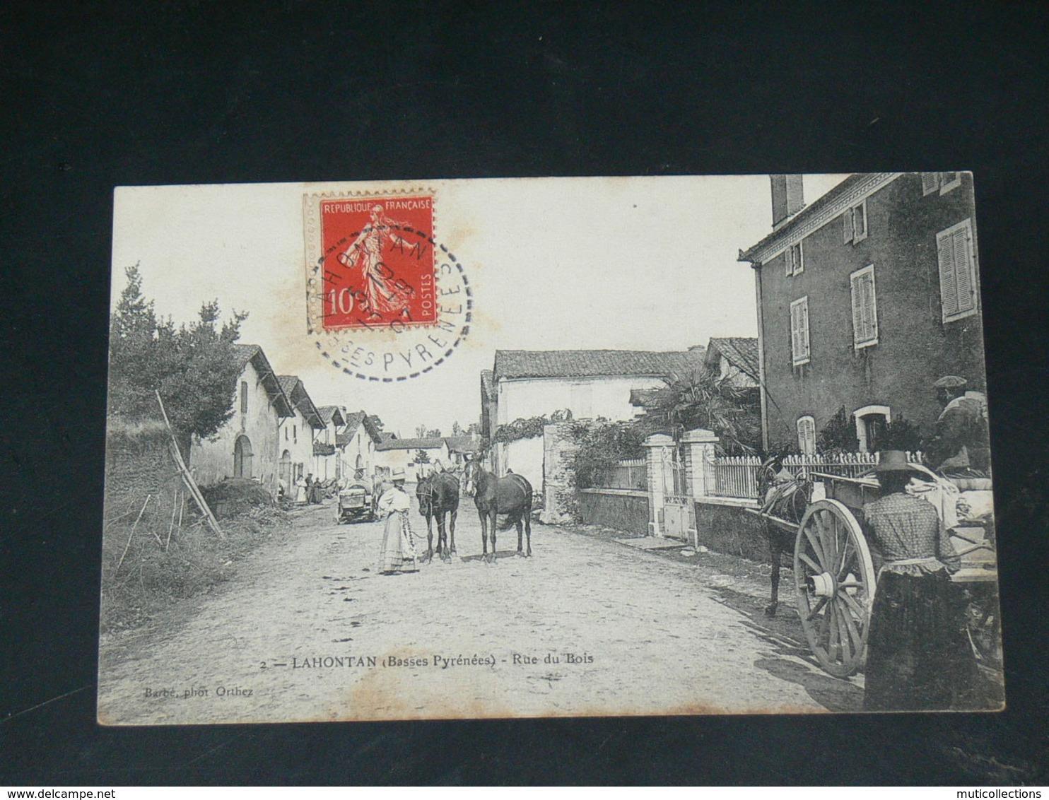 LAHONTAN  / ARDT Oloron-Sainte-Marie  1910 /   VUE RUE ANIMEE & COMMERCES   ....  EDITEUR - Autres Communes