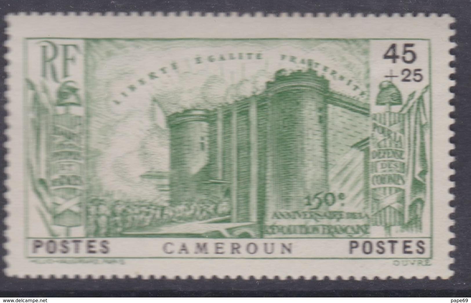 Cameroun N° 192 X  Partie De 150ème Anniversaire De La Révolution : 45 C. + 25 C. Vert  Trace De Charnière Sinon TB - Cameroun (1915-1959)
