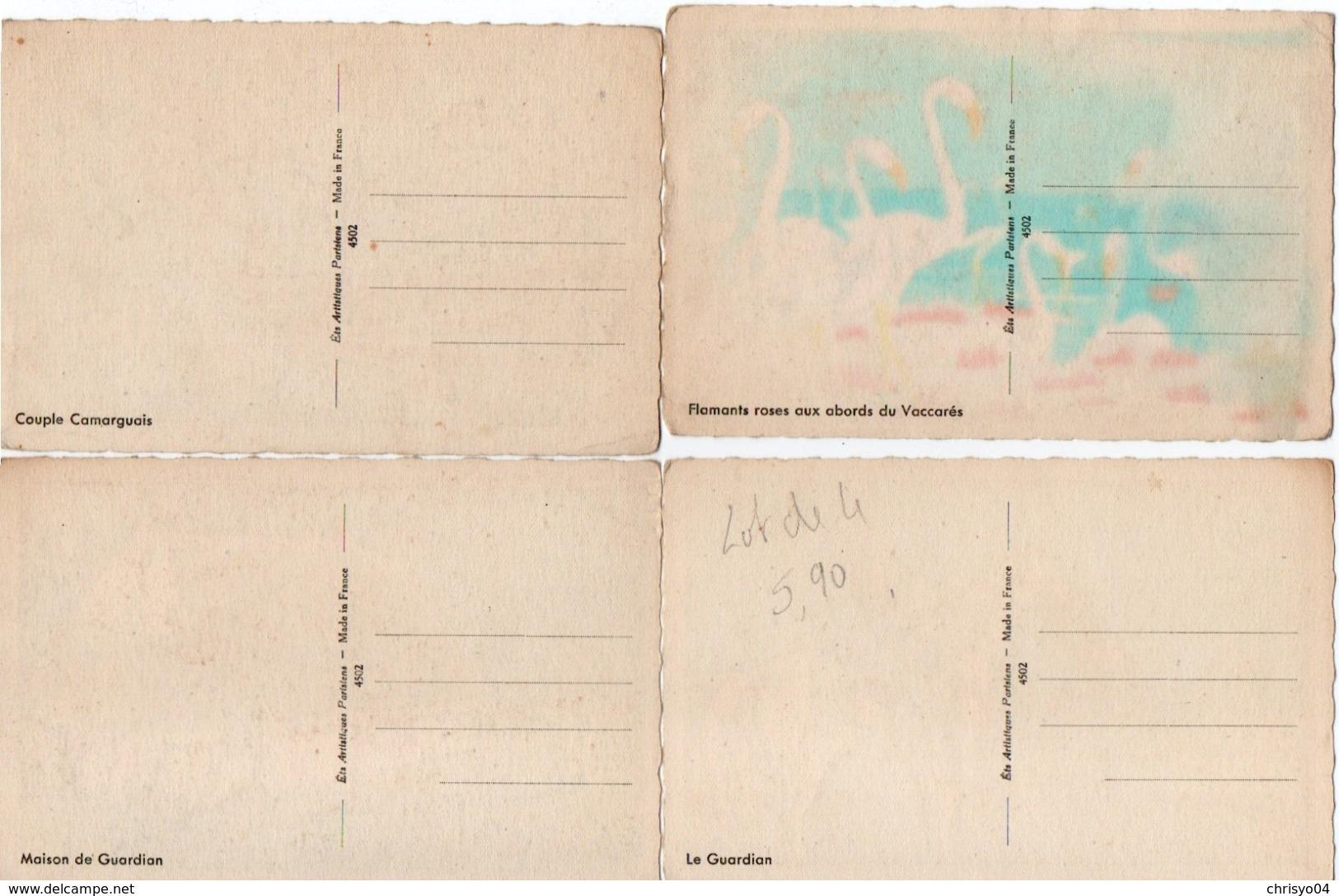 93Maj   Illustrateur Lot De 4 Cpa Camargue Gardian Flamands Cabane - 1900-1949